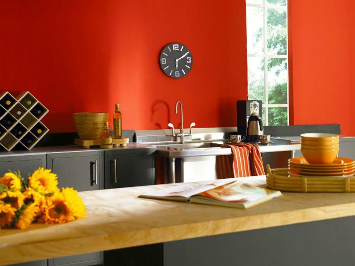 Современная кухня с оранжевыми стенами.