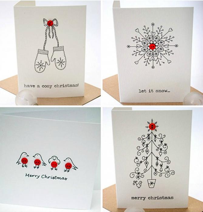 Удивительные открытки с простыми рисунками, украшенными яркими пуговками.