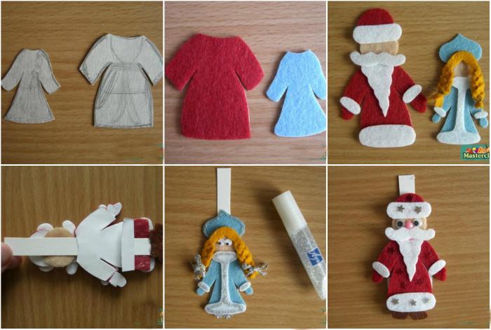 Фигурки Деда Мороза и Снегурочки из фетра.