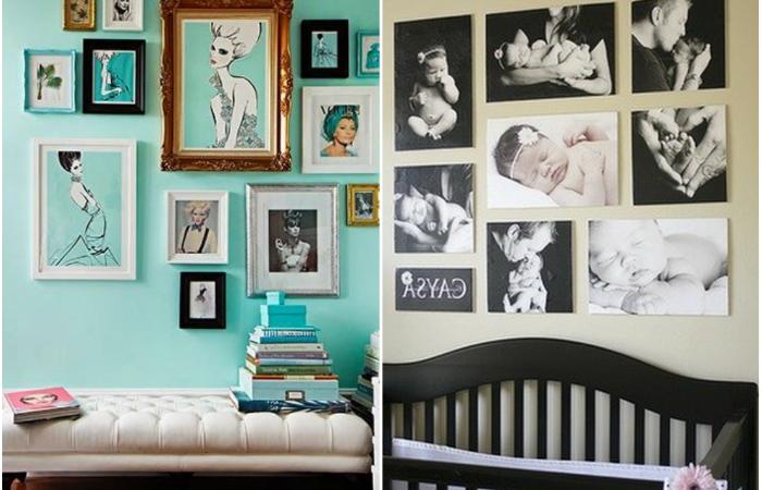 Оригинальные способы размещения любимых фотографий в интерьере.