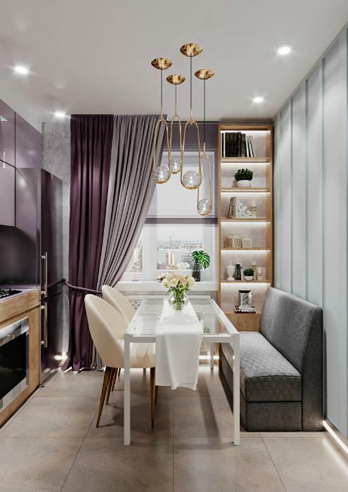 Элегантная узкая кухня. | Фото: MyDesigning.