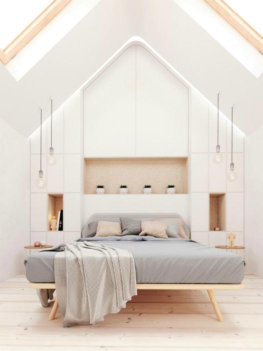 Белоснежная мансардная спальня.
