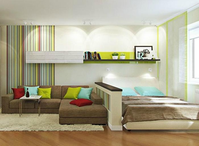 Жизнерадостный интерьер гостиной, смежной со спальней.