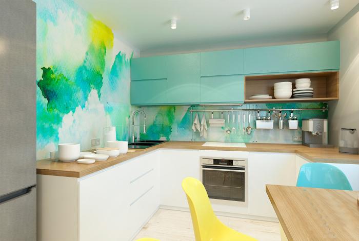 Акварельная покраска стен кухни.