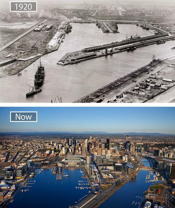 Мельбурн в 1920-ом и сейчас.
