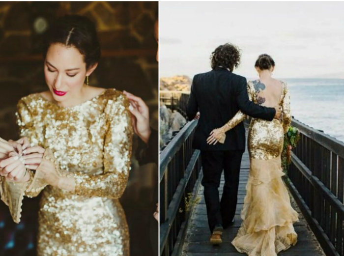Блестящее платье в пайетках.