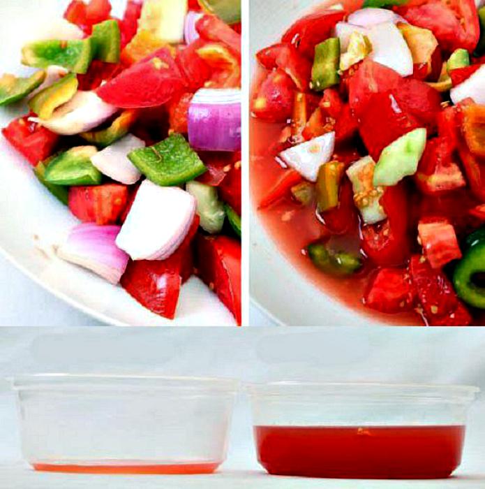 Овощной салат без лишнего сока.