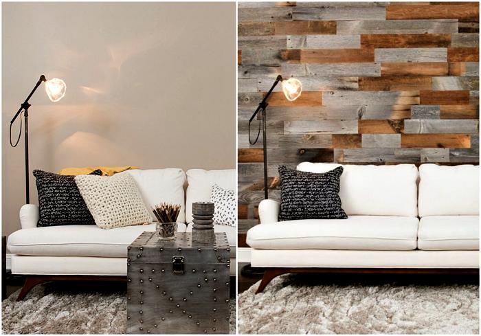 Стена, украшенная деревянными досками.