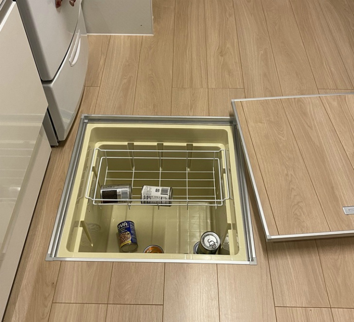 Холодильник, встроенный в пол. | Фото: Pholder.