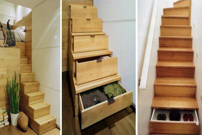 Шкафчики в ступенях лестницы.