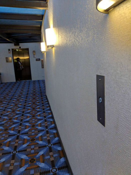 Кнопки лифта у номеров.