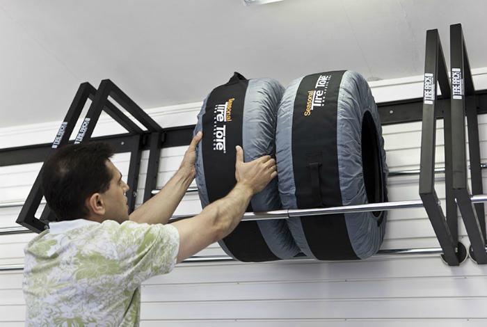 Кронштейн для колес в гараже.