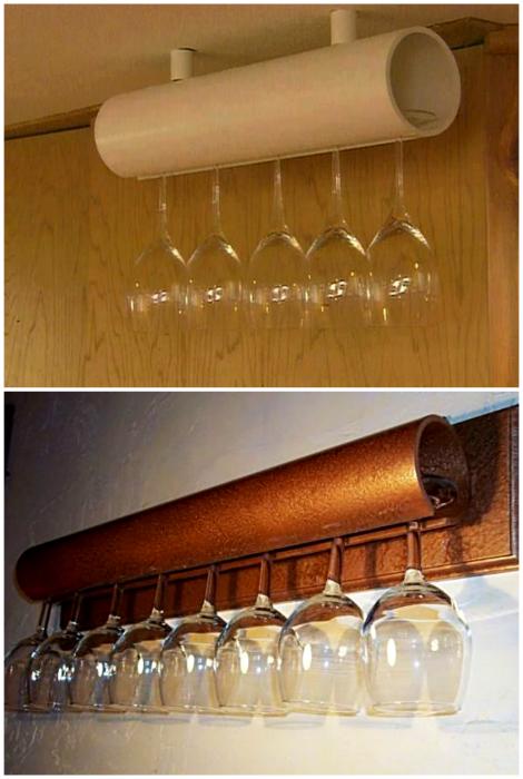Держатель для бокалов из пластиковой трубы.
