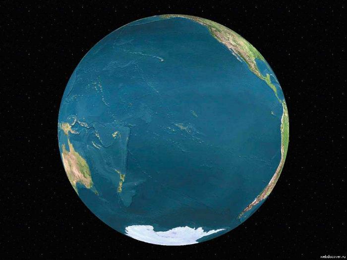 Земной шар со стороны Тихого океана.