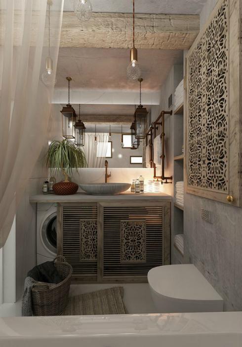 Небольшая ванная в стиле кантри.