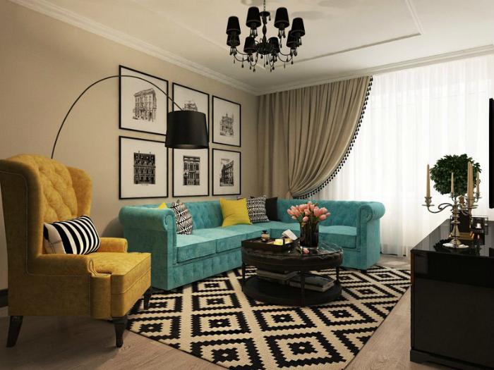 Гостиная с яркой мебелью.