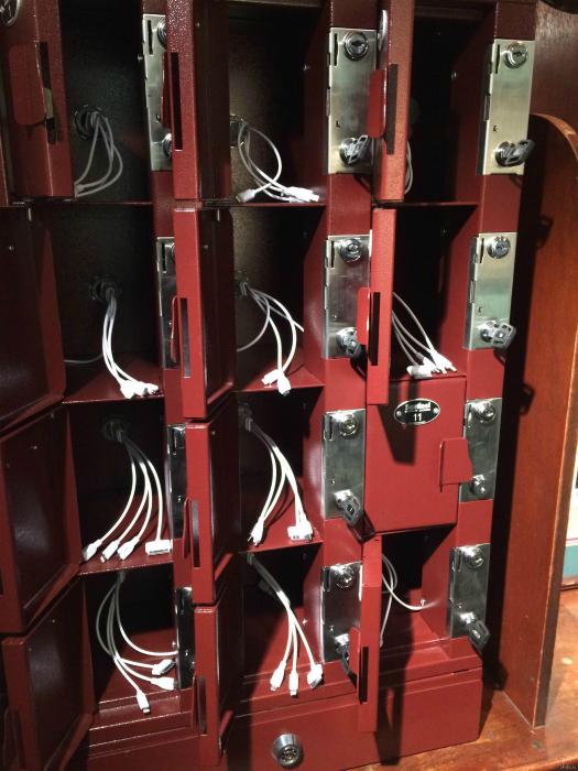 Персональные ящики для зарядки мобильных устройств.