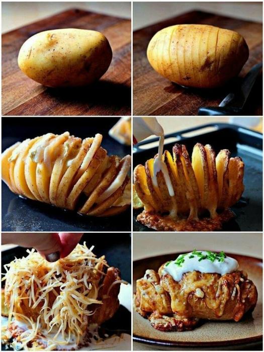 Картофель, нарезанный ломтиками и запеченный с беконом и сыром.