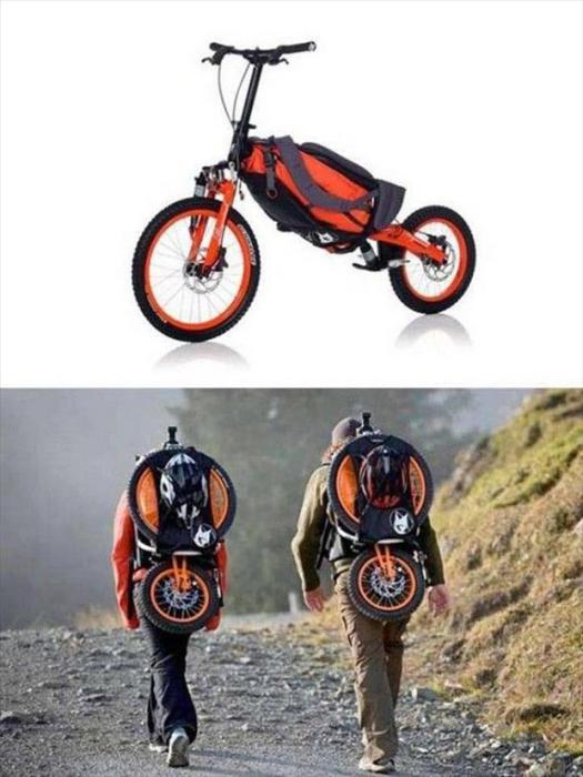 Велосипед «Bergmonch», который складывается в рюкзак, легко помещающийся за спиной.