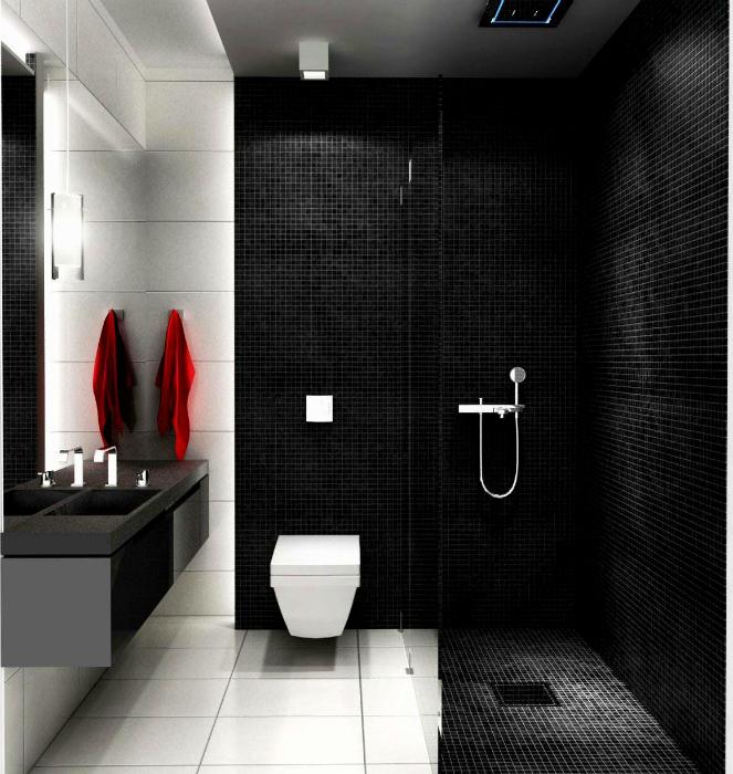 Современная черно-белая ванная.
