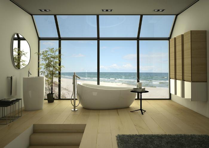 Элегантная ванная комната в тропическом стиле.