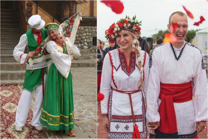Русские традиционные свадебные костюмы.
