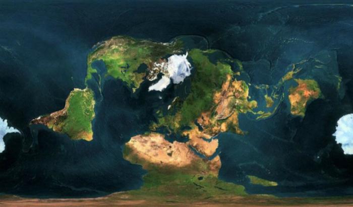 Проекция Земли с необычной точки.