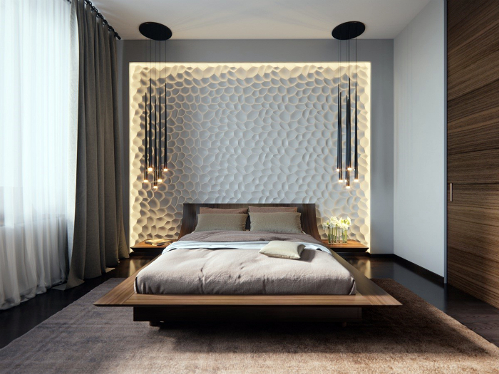 Современная спальня с необычной акцентной стеной.