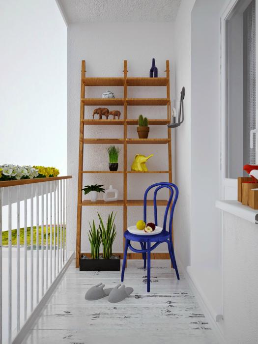 Открытый балкон в стиле минимализм.