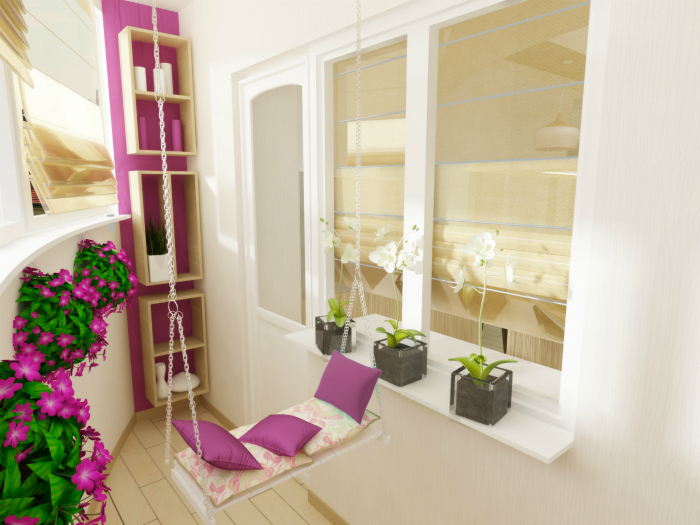 Яркие цветы и небольшие качели, сделают балкон неповторимым.