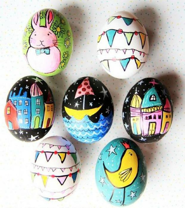 Детские рисунки на яйцах.