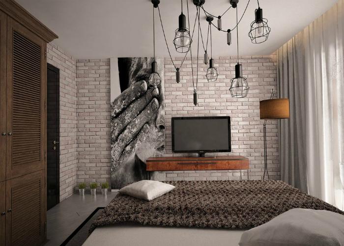 Мужская однокомнатная квартира в стиле лофт.