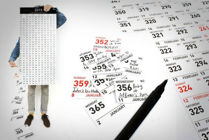 Оригинальный календарь, где новый месяц не начинается с нового числа, а продолжается отсчёт дней с начала года — с 1-го до 365-го.