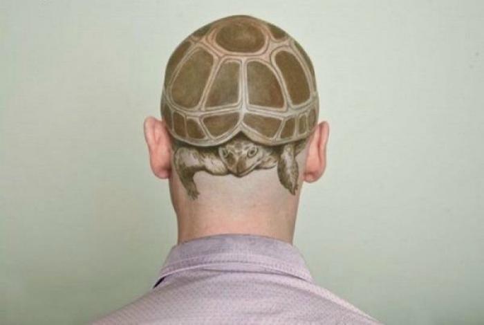 Изображение черепахи на голове.