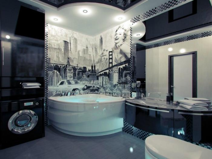 Стильная черно-белая ванна с фотообоями.
