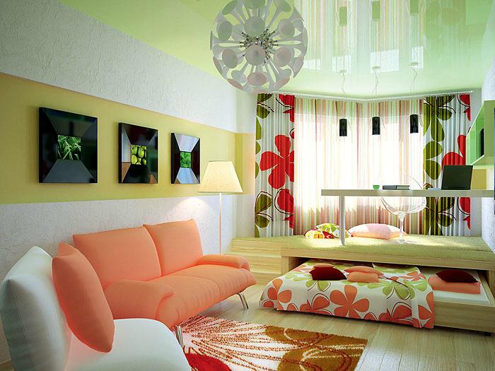 Стильная комната в персиковых тонах.