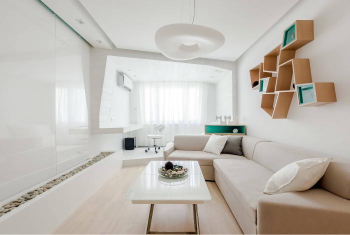 Гостиная, оформленная в тотальном белом цвете.