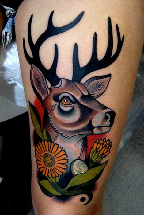 Татуировка с изображением оленя.