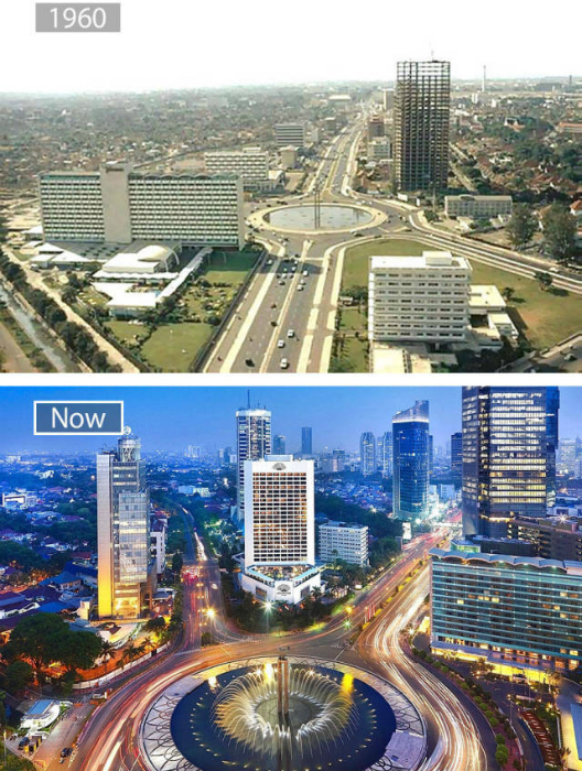 Джакарта в 1960-ом и сейчас.