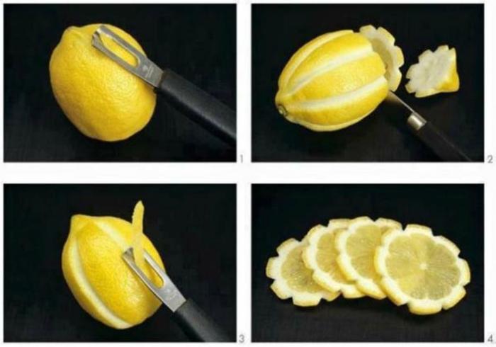 Фигурная нарезка лимона.