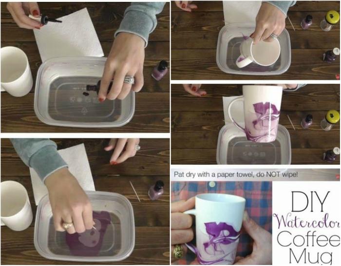 Простой способ красиво декорировать кружку с помощью лаков для ногтей.
