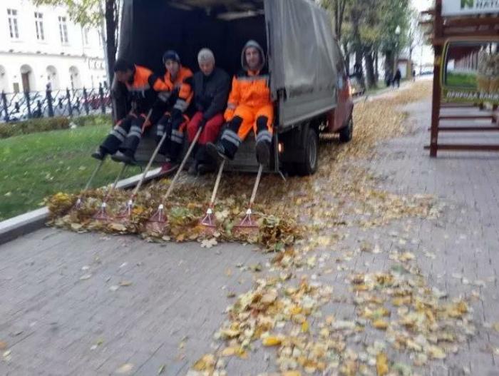 Слаженная борьба с листопадом.