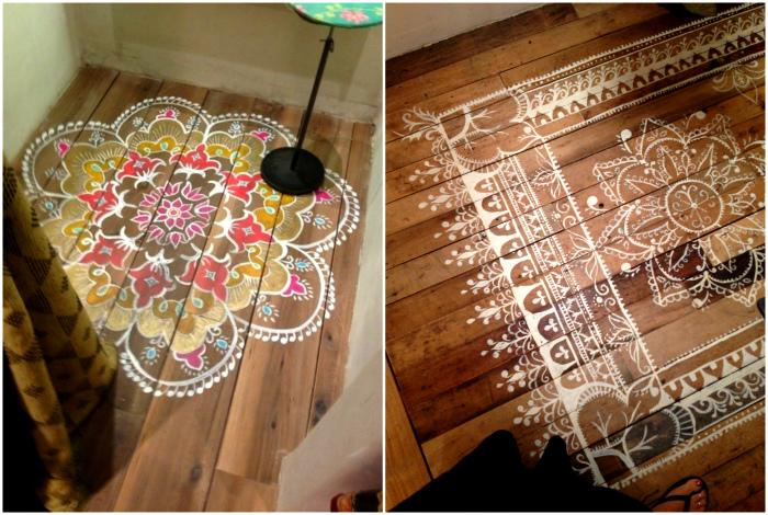 Рисунки на деревянном полу.