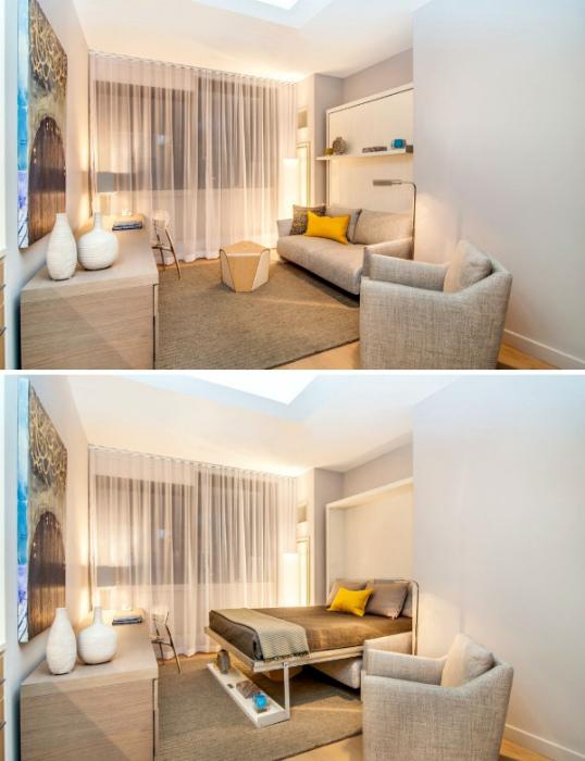 Кровать-диван в интерьере гостиной.