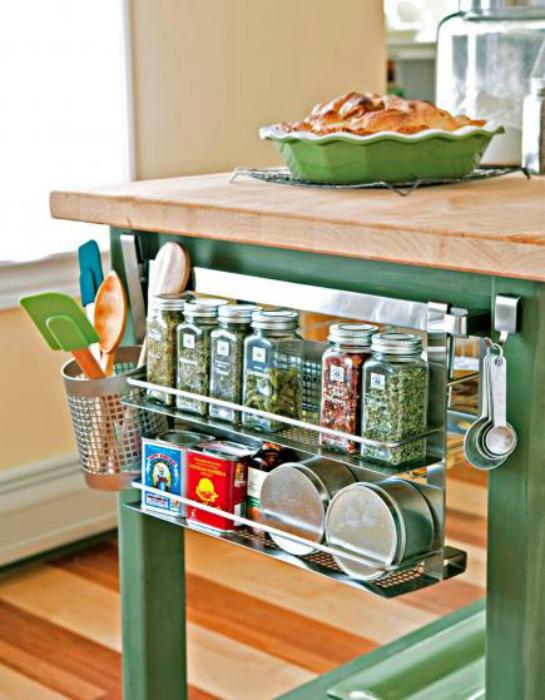 Подставка для посуды, прикрепленная к боковой поверхности станет отличной подставкой для специй.
