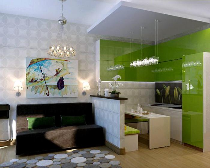 Небольшая кухня-гостиная с зелеными акцентами.