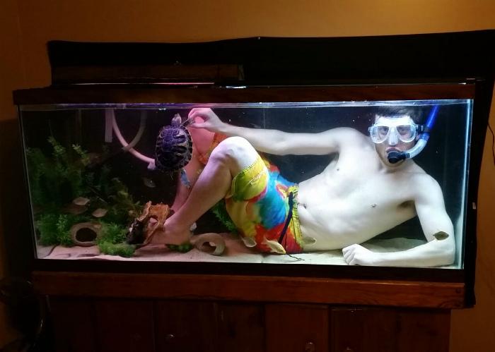 Дайвинг в аквариуме.