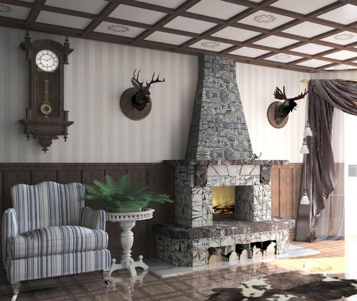 Просторная гостиная в классическом стиле.