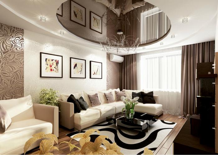 Изысканная гостиная в коричневых тонах.