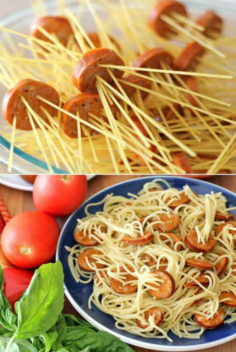Оригинальный способ приготовления спагетти с сосисками.